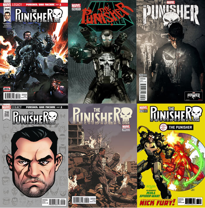 Punisher Legacy #218 Covers